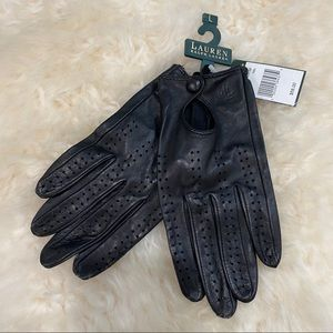 Lauren Ralph Lauren Black Perforated Gloves
